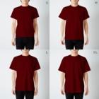 ねずみのおみせ suzuri店のしろちゃんと一緒に筋トレしよう T-shirtsのサイズ別着用イメージ(男性)