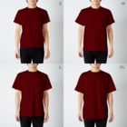aliveONLINE SUZURI店のパーティだいきち(特別企画) T-shirtsのサイズ別着用イメージ(男性)