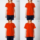 どうぶつのホネ、ときどきキョウリュウ。のブチハイエナ3 T-shirtsのサイズ別着用イメージ(女性)