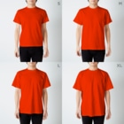 ゆたかちゃんの404 not found error (仕事したくない) T-shirtsのサイズ別着用イメージ(男性)