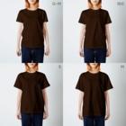 Japanarration_ジャパナレーションの鳥羽の朝市_今浦_白スタンプ T-shirtsのサイズ別着用イメージ(女性)