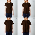 溝呂木一美のお店の私は猫派です。(白インク/裏印刷あり) T-shirtsのサイズ別着用イメージ(女性)