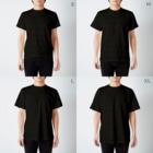 猫とましゅまろとわたしのえもめめ太 T-shirtsのサイズ別着用イメージ(男性)