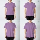 じんべい WORKSの雲の上のモー T-shirtsのサイズ別着用イメージ(男性)