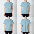 h e s i t a t eのADDICTED to ART T-shirtsのサイズ別着用イメージ(男性)
