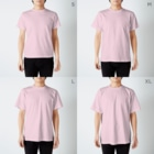 warawarararaのはやりにのる女 T-shirtsのサイズ別着用イメージ(男性)