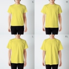 古書 天牛書店のグランヴィル「蛙」 <アンティーク・プリント> T-shirtsのサイズ別着用イメージ(男性)