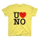 うののI LOVE UNO(黒文字) T-shirts
