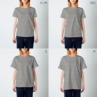 ikeyocraft のNo fish No pants! バーガンディ T-shirtsのサイズ別着用イメージ(女性)