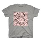 イラストレーター yasijunのひょう柄猫ちゃんピンク T-shirts