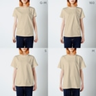 kone-comet_SHOPのカマエタチ(ブルー) T-shirtsのサイズ別着用イメージ(女性)