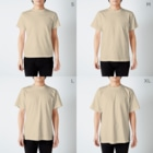Tree Sparrowのヨゲンノトリ T-shirtsのサイズ別着用イメージ(男性)