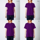YHBC(由利本荘ボルダリングクラブ)のYHBC フルプリントTee(パープル) T-shirtsのサイズ別着用イメージ(女性)