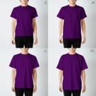 flatman.artの欲求不満(三角木馬) T-shirtsのサイズ別着用イメージ(男性)