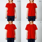 SANKAKU DESIGN STOREのHAPPY ASS HIP HOP! ネオンブルー T-shirtsのサイズ別着用イメージ(女性)