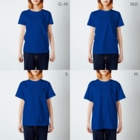 和玄堂suzuri店のそりカエル T-shirtsのサイズ別着用イメージ(女性)