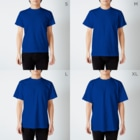 bou_design_inoの目指せ、ミニ四チャンピオンレーサー(青) T-shirtsのサイズ別着用イメージ(男性)