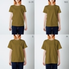 ヤマノナガメの犬と宝物 T-shirtsのサイズ別着用イメージ(女性)