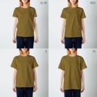 Ayanefukuの福が来るよ福ちゃんグッズ T-shirtsのサイズ別着用イメージ(女性)