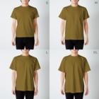 Ayanefukuの福が来るよ福ちゃんグッズ T-shirtsのサイズ別着用イメージ(男性)