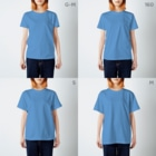 ぷにおもちSHOPの三つ子プリン T-shirtsのサイズ別着用イメージ(女性)