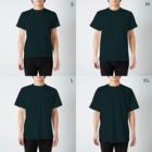 まるコロッ。のウサコロまる・ジャグリング2(線画:白バージョン) T-shirtsのサイズ別着用イメージ(男性)