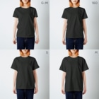 Tarockのへなちょこワニ君(名前付) T-shirtsのサイズ別着用イメージ(女性)