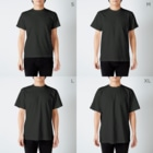 ニコの飼い主の飼主(白文字) T-shirtsのサイズ別着用イメージ(男性)
