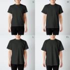 LINEスタンプ販売中ぱんのピラミッドハムスター(白線) T-shirtsのサイズ別着用イメージ(男性)