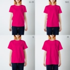 架空の銀座通り商店街の相席居酒屋 処刑場(新ロゴ案4) T-shirtsのサイズ別着用イメージ(女性)