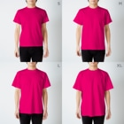 いちよんごのべんじょみいら T-shirtsのサイズ別着用イメージ(男性)