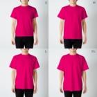 タキヲ@スタンプ販売「どうぶつくん」のおばけねこ。(生きろ) T-shirtsのサイズ別着用イメージ(男性)