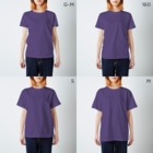 aimuristのEyes of the dinosaur ニューモンジョ T-shirtsのサイズ別着用イメージ(女性)