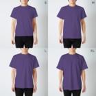 aimuristのEyes of the dinosaur ニューモンジョ T-shirtsのサイズ別着用イメージ(男性)