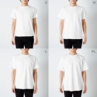 ACTIVE-HOMINGのLet's Go! to Proxima Centauri グッズ黒字斜め T-shirtsのサイズ別着用イメージ(男性)