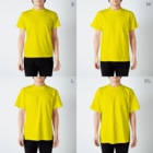 TEALのOrganizational theory T-shirtsのサイズ別着用イメージ(男性)