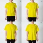 ザ・ワタナバッフルの屋久島弁シリーズ 2:ヤクザル・ヤクシカ・ウミガメ・縄文杉キャラ T-shirtsのサイズ別着用イメージ(男性)