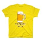 NIKORASU GOの「やっぱり生ビール」/ビール フェイク 飲み会 宴会 アルコール お酒 ユーモア ネタ おもしろ 手描き オリジナル グッズ Tシャツ ハンドメイド調 T-shirts