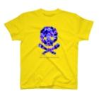 スカル君とスケルちゃんのフラワードクロ(ブルー) T-shirts