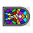 256graphのレトロゲームの教会風ステンドグラス Stickable posterの横向き