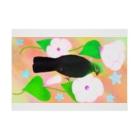 Lily bird(リリーバード)の見返り美鳥(ギニアエボシドリ)カラフル背景① Stickable posterの横向き