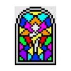 256graphのレトロゲームの教会風ステンドグラス Stickable poster