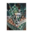 世界の絵画アートグッズのフアン・グリス 《チェックのテーブルクロスのある静物》 Stickable Poster