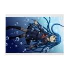 南天玉露の店の水の中の女子高生 Stickable posterの横向き