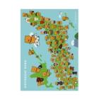 柴犬ラクのご当地ラクの日本地図(展示のみ) Stickable Poster