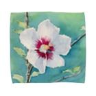 あかり花鳥風月のムクゲ:透明水彩でお花の絵 Towel handkerchiefs