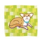 ULI_Tetoの テトさん(犬)黄緑L Towel handkerchiefs
