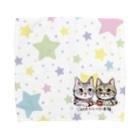 tantan&ikoのお店の幸福な時間を大切に🍅🐱🐱🍅星柄⭐️ワンポイント Towel handkerchiefs