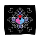 ERIKOERIN ART SHOPの「浪漫花」-ROMANKA-/タオルハンカチ(ブラック) Towel handkerchiefs