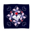 ERIKOERIN ART SHOPの「浪漫花」-ROMANKA-/タオルハンカチ(ネイビー) Towel handkerchiefs
